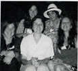 FIRE (Feminist International Radio Endeavor), Costa Rica. Front row: Genevieve Vaughan, Delora Latham (Radio for Peace International), Sally Jacques; Back row: Katarina Anjossi, Maria Suarez.