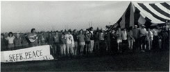 Demonstration at Pantex, Amarillo, TX, 1985. We had a replica of the Nairobi Peace tent made and have used it many place since.