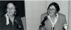 Genevieve Vaughan, March 1996. FANG (Feminist Anti-Nuclear Gathering - held at Stonehaven Ranch) press conference.
