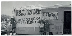 Women's Peace Caravan (led by Susan Lee) at public hearing about the proposed nuclear waste dump, Sierra Blanca, TX August 7-8, 1996.