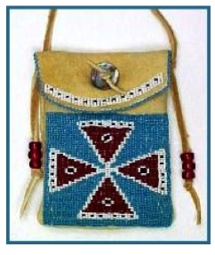 "Figure 1. Blackfeet Beaded Pouch. Typical Beaded Pouch, showing version of ""plus sign"". http://www.native-languages.org/bags.htm."